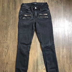 Black denim embellished jeans